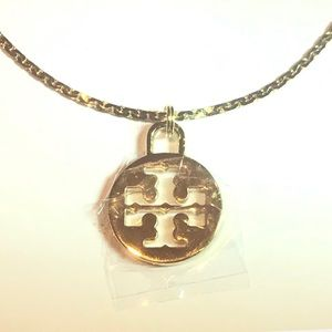 Tory Burch Charm Logo TB Gold Necklace